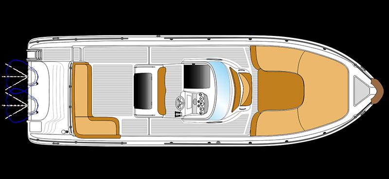 bateau open blanc ranieri voyager 30 vue de dessus