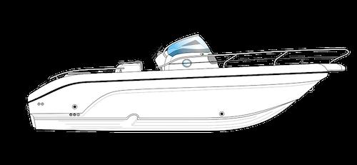 bateau open blanc ranieri voyager 26 S vue de côté
