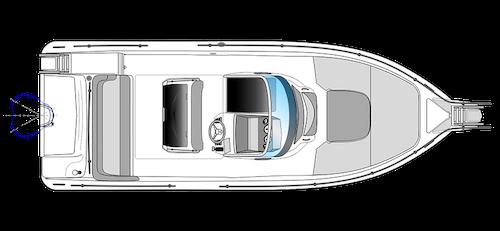 bateau open blanc ranieri voyager 26 S vue dessus