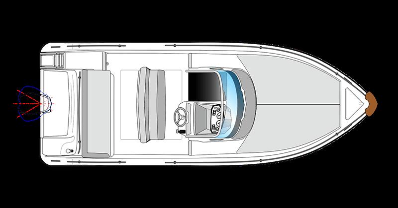 bateau open blanc Ranieri Shadow 19 vue de dessus