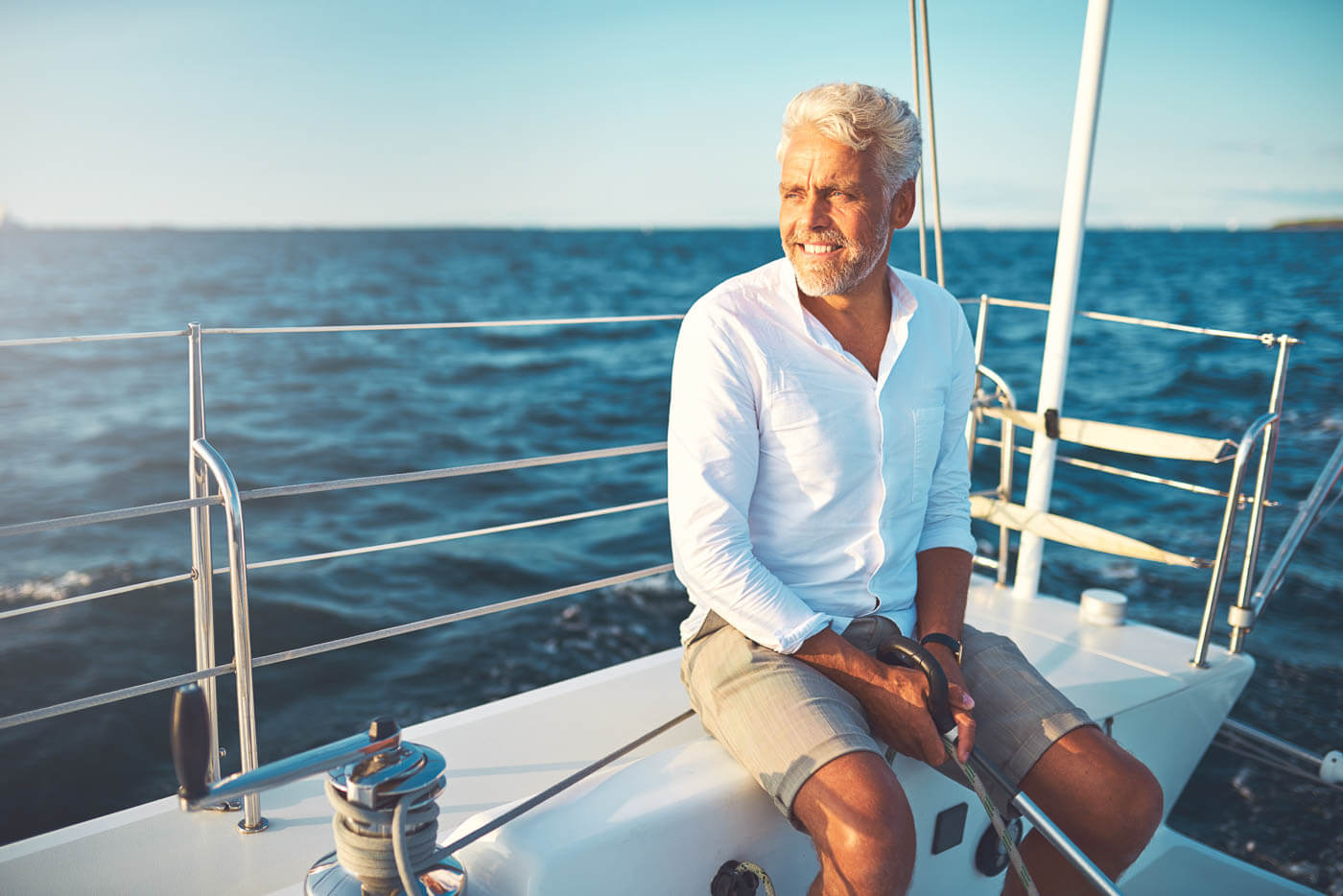 Man Sailing with his new boat