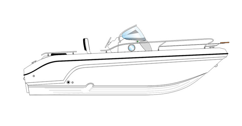 bateau open blanc Ranieri Shadow 19 vue de coté