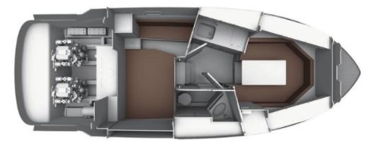 dessin plan de pont Bavaria 28 sport intérieur avec 4 couchages